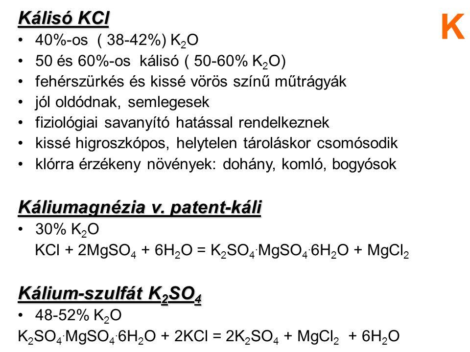 Kálisó KCl 40%-os ( 38-42%) K 2 O 50 és 60%-os kálisó ( 50-60% K 2 O) fehérszürkés és kissé vörös színű műtrágyák jól oldódnak, semlegesek fiziológiai
