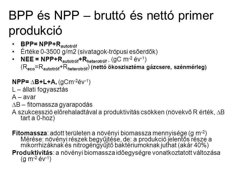 BPP és NPP – bruttó és nettó primer produkció BPP= NPP+R autotróf Értéke 0-3500 g/m2 (sivatagok-trópusi esőerdők) NEE = NPP+R autotróf +R heterotróf,