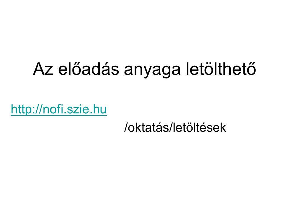 Az előadás anyaga letölthető http://nofi.szie.hu /oktatás/letöltések