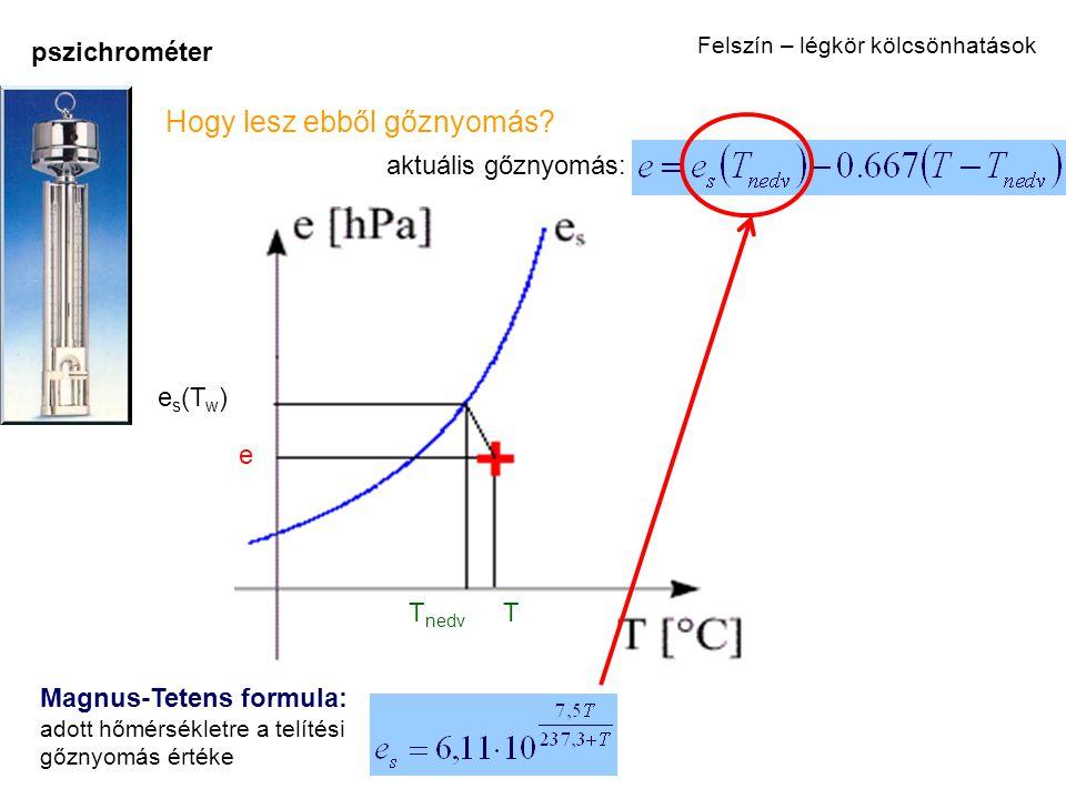pszichrométer T nedv T e e s (T w ) Magnus-Tetens formula: adott hőmérsékletre a telítési gőznyomás értéke Hogy lesz ebből gőznyomás? aktuális gőznyom