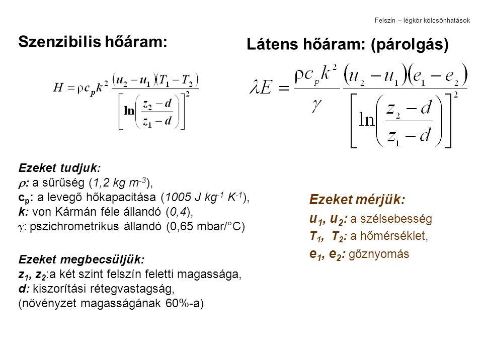 Ezeket mérjük: u 1, u 2 : a szélsebesség T 1, T 2 : a hőmérséklet, e 1, e 2 : gőznyomás Szenzibilis hőáram: Látens hőáram: (párolgás) Ezeket tudjuk: 