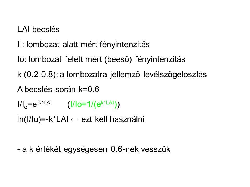 LAI becslés I : lombozat alatt mért fényintenzitás Io: lombozat felett mért (beeső) fényintenzitás k (0.2-0.8): a lombozatra jellemző levélszögeloszlá