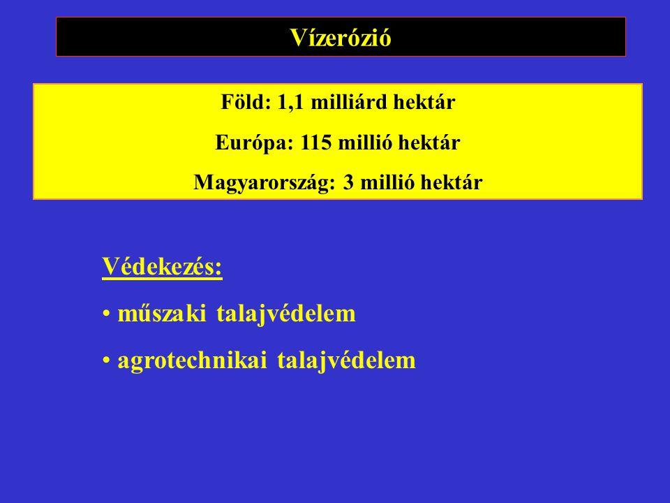 Vízerózió Föld: 1,1 milliárd hektár Európa: 115 millió hektár Magyarország: 3 millió hektár Védekezés: műszaki talajvédelem agrotechnikai talajvédelem