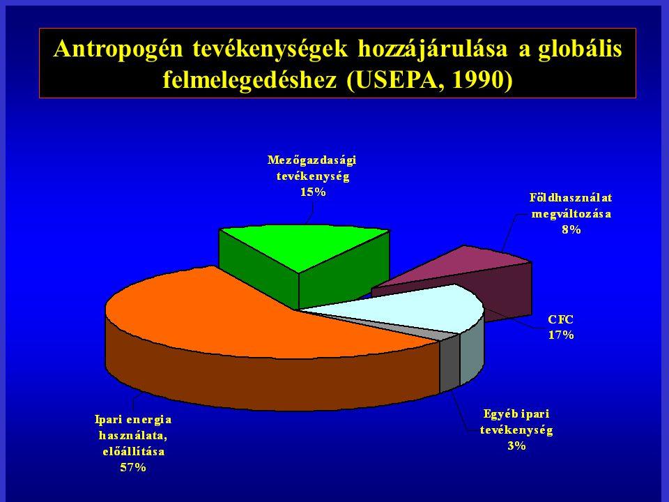 Antropogén tevékenységek hozzájárulása a globális felmelegedéshez (USEPA, 1990)