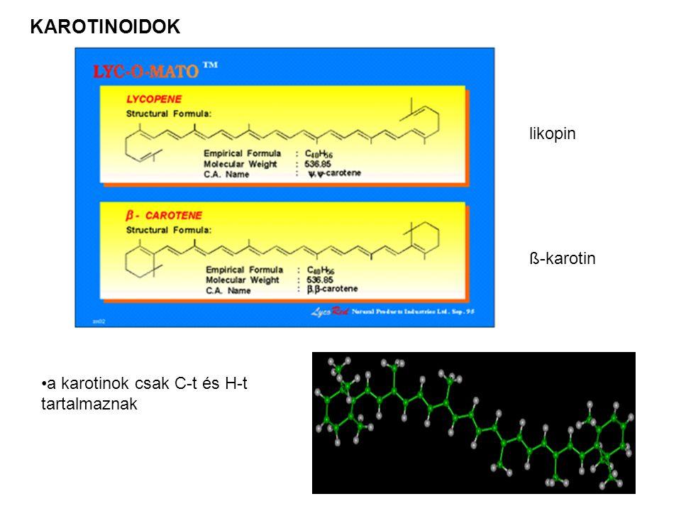 KAROTINOIDOK likopin ß-karotin a karotinok csak C-t és H-t tartalmaznak