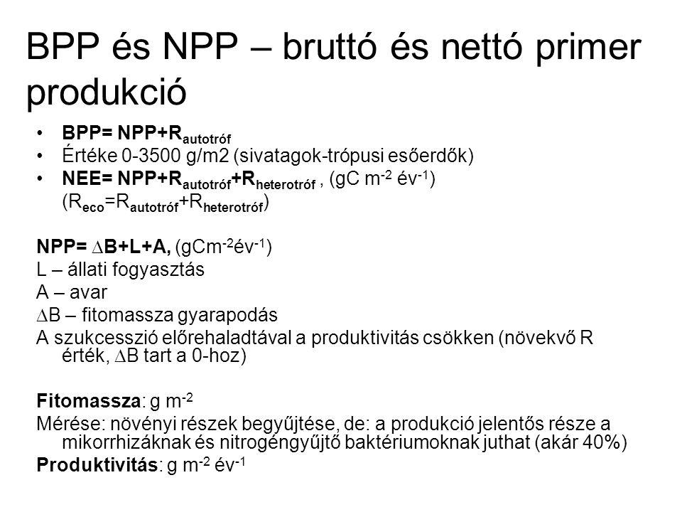 BPP és NPP – bruttó és nettó primer produkció BPP= NPP+R autotróf Értéke 0-3500 g/m2 (sivatagok-trópusi esőerdők) NEE= NPP+R autotróf +R heterotróf, (