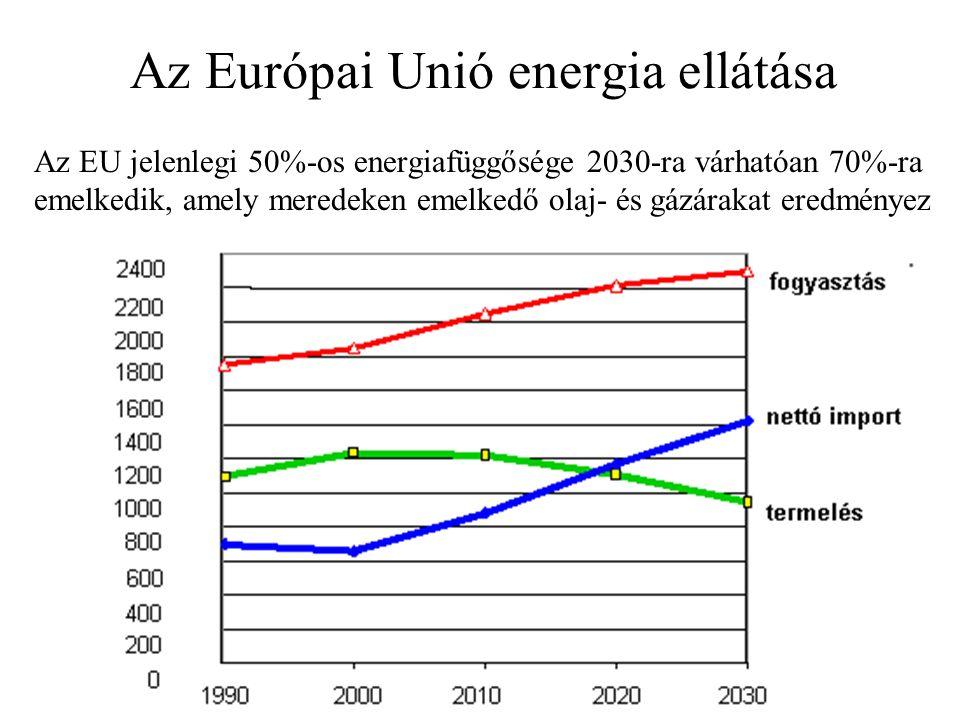 Az Európai Unió energia ellátása Az EU jelenlegi 50%-os energiafüggősége 2030-ra várhatóan 70%-ra emelkedik, amely meredeken emelkedő olaj- és gázárakat eredményez