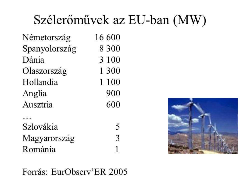 Szélerőművek az EU-ban (MW) Németország16 600 Spanyolország 8 300 Dánia 3 100 Olaszország 1 300 Hollandia 1 100 Anglia 900 Ausztria 600 … Szlovákia 5 Magyarország 3 Románia 1 Forrás: EurObserv'ER 2005