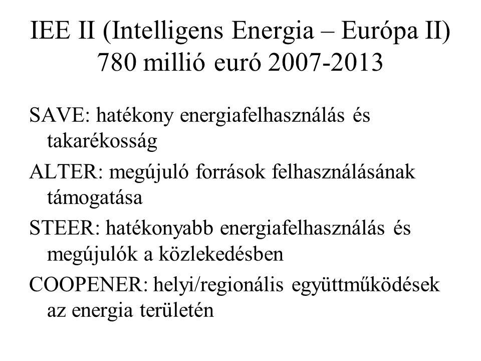 IEE II (Intelligens Energia – Európa II) 780 millió euró 2007-2013 SAVE: hatékony energiafelhasználás és takarékosság ALTER: megújuló források felhasználásának támogatása STEER: hatékonyabb energiafelhasználás és megújulók a közlekedésben COOPENER: helyi/regionális együttműködések az energia területén