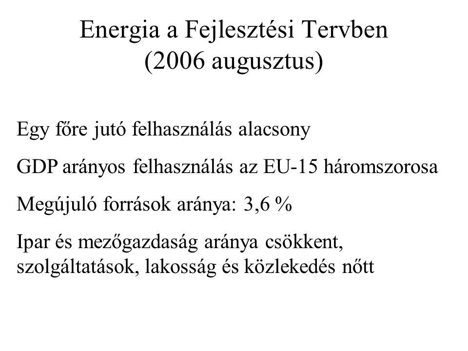 Energia a Fejlesztési Tervben (2006 augusztus) Egy főre jutó felhasználás alacsony GDP arányos felhasználás az EU-15 háromszorosa Megújuló források aránya: 3,6 % Ipar és mezőgazdaság aránya csökkent, szolgáltatások, lakosság és közlekedés nőtt