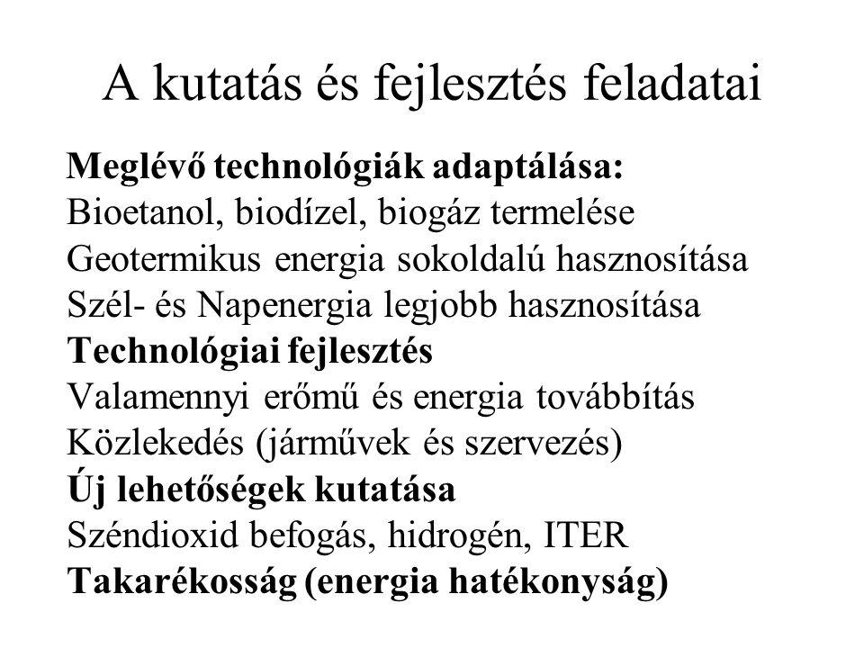 A kutatás és fejlesztés feladatai Meglévő technológiák adaptálása: Bioetanol, biodízel, biogáz termelése Geotermikus energia sokoldalú hasznosítása Szél- és Napenergia legjobb hasznosítása Technológiai fejlesztés Valamennyi erőmű és energia továbbítás Közlekedés (járművek és szervezés) Új lehetőségek kutatása Széndioxid befogás, hidrogén, ITER Takarékosság (energia hatékonyság)