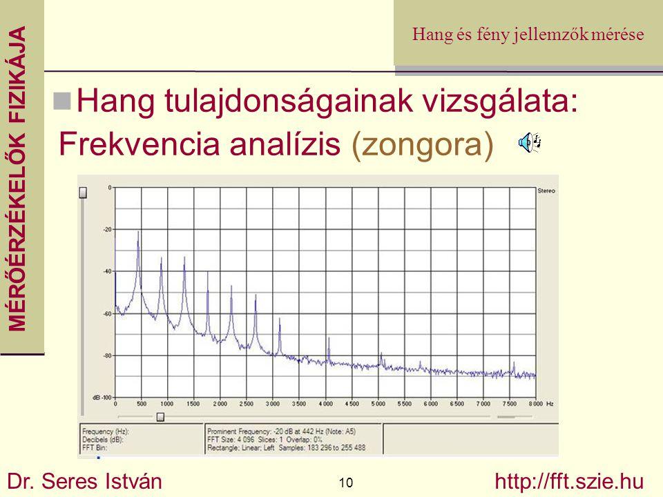 MÉRŐÉRZÉKELŐK FIZIKÁJA Dr. Seres István 10 http://fft.szie.hu Hang és fény jellemzők mérése Hang tulajdonságainak vizsgálata: Frekvencia analízis (zon