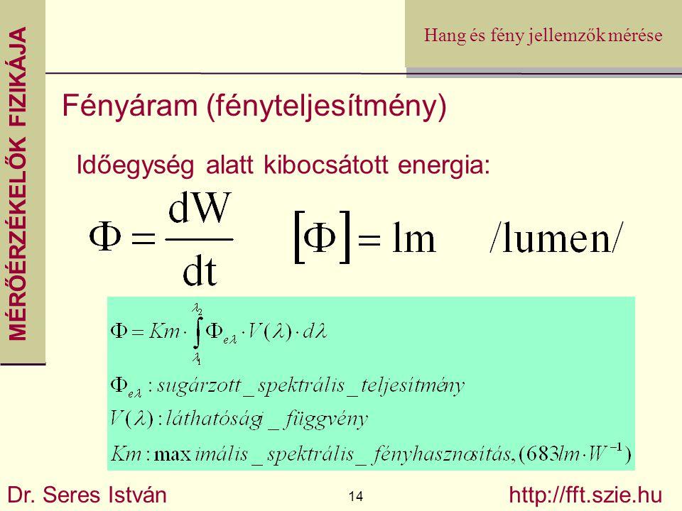 MÉRŐÉRZÉKELŐK FIZIKÁJA Dr. Seres István 14 http://fft.szie.hu Hang és fény jellemzők mérése Fényáram (fényteljesítmény) Időegység alatt kibocsátott en