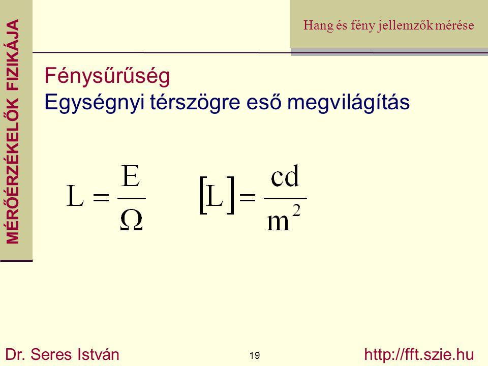 MÉRŐÉRZÉKELŐK FIZIKÁJA Dr. Seres István 19 http://fft.szie.hu Hang és fény jellemzők mérése Fénysűrűség Egységnyi térszögre eső megvilágítás