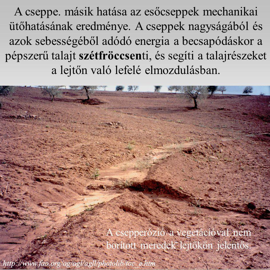 A cseppe.másik hatása az esőcseppek mechanikai ütőhatásának eredménye.