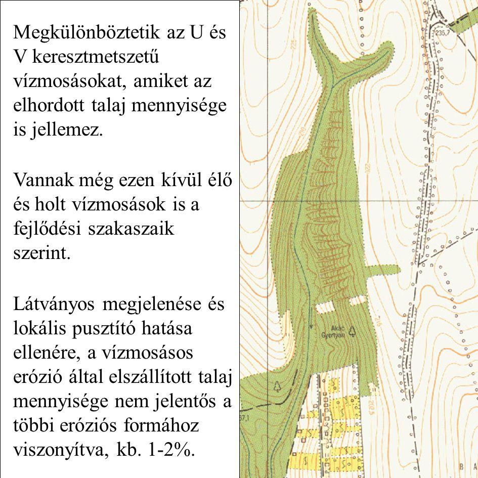 Megkülönböztetik az U és V keresztmetszetű vízmosásokat, amiket az elhordott talaj mennyisége is jellemez.