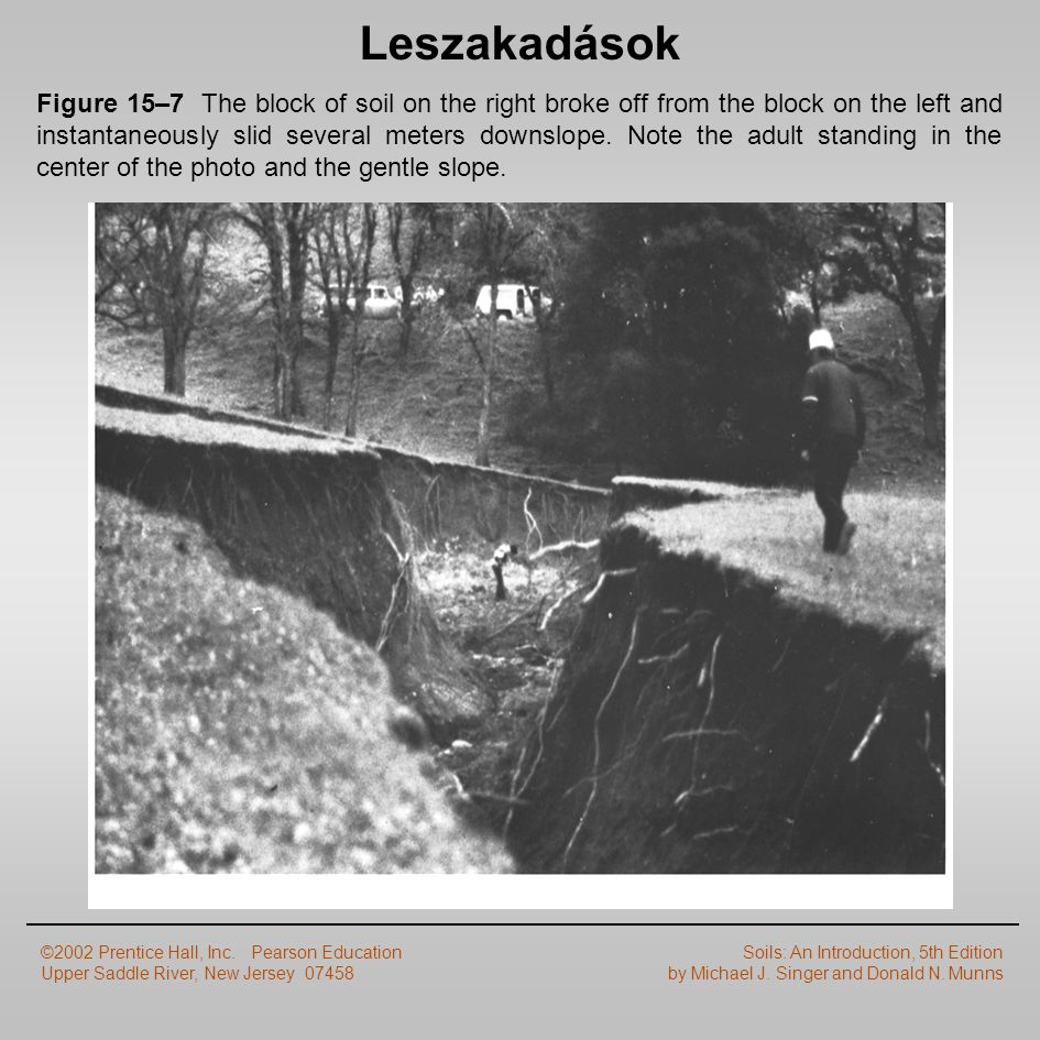 Leszakadások Figure 15–7 The block of soil on the right broke off from the block on the left and instantaneously slid several meters downslope. Note t