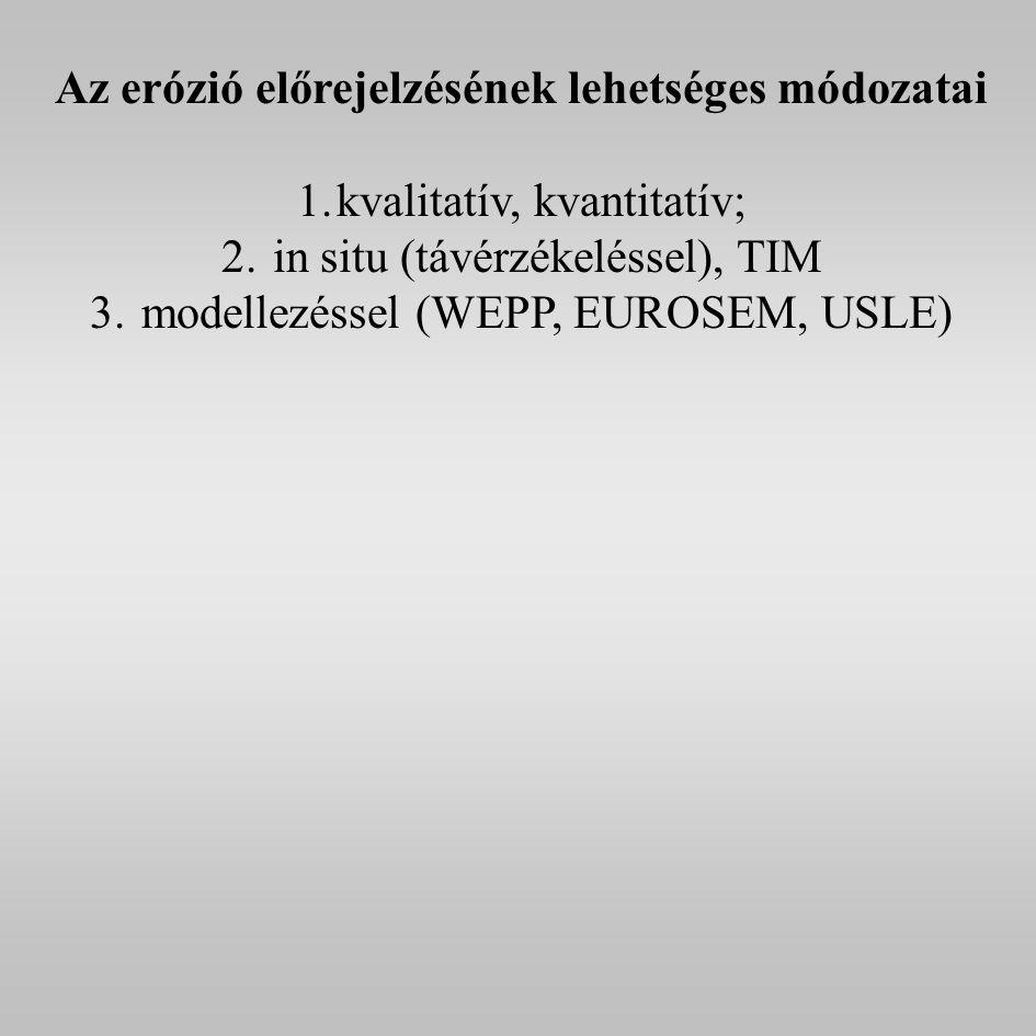 Az erózió előrejelzésének lehetséges módozatai 1.kvalitatív, kvantitatív; 2.