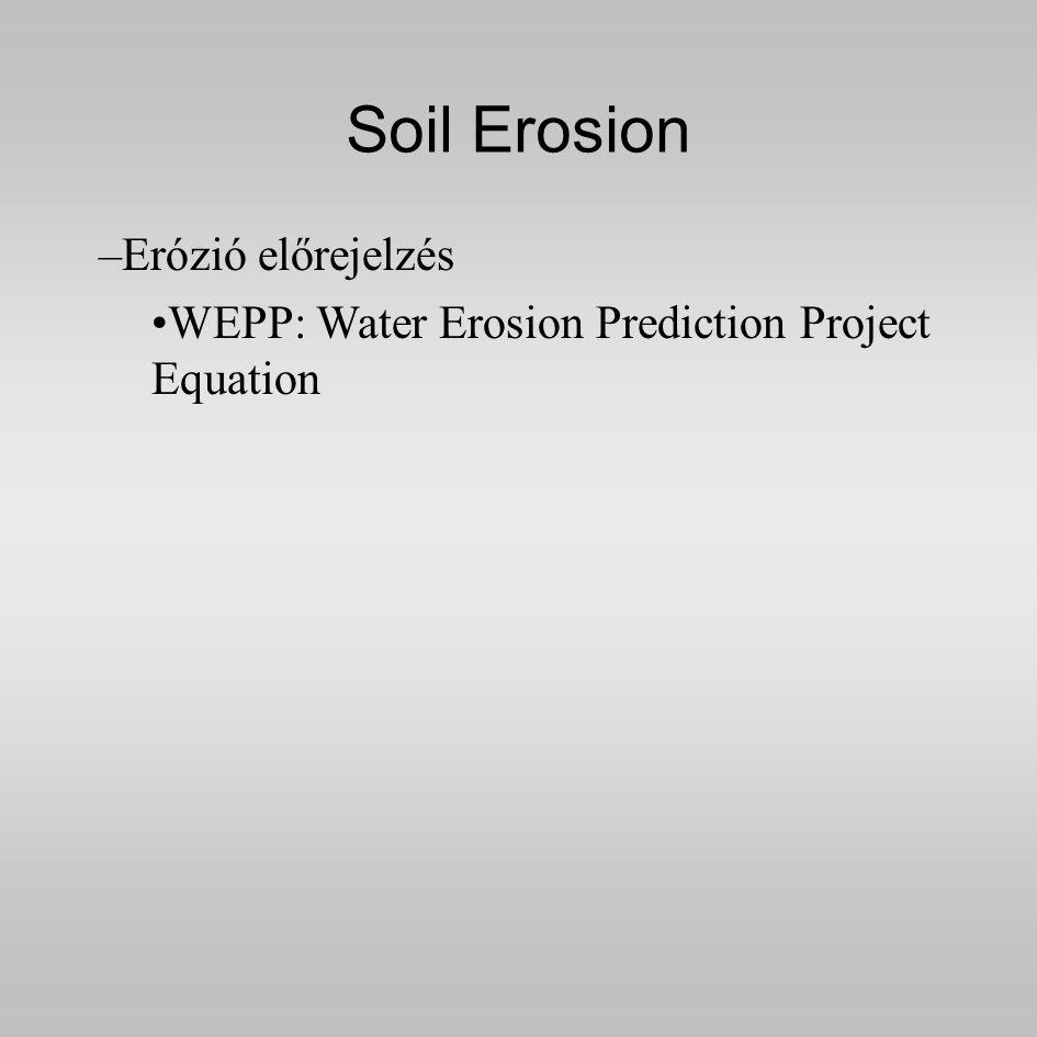 Soil Erosion –Erózió előrejelzés WEPP: Water Erosion Prediction Project Equation