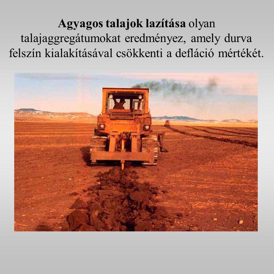 Agyagos talajok lazítása olyan talajaggregátumokat eredményez, amely durva felszín kialakításával csökkenti a defláció mértékét.