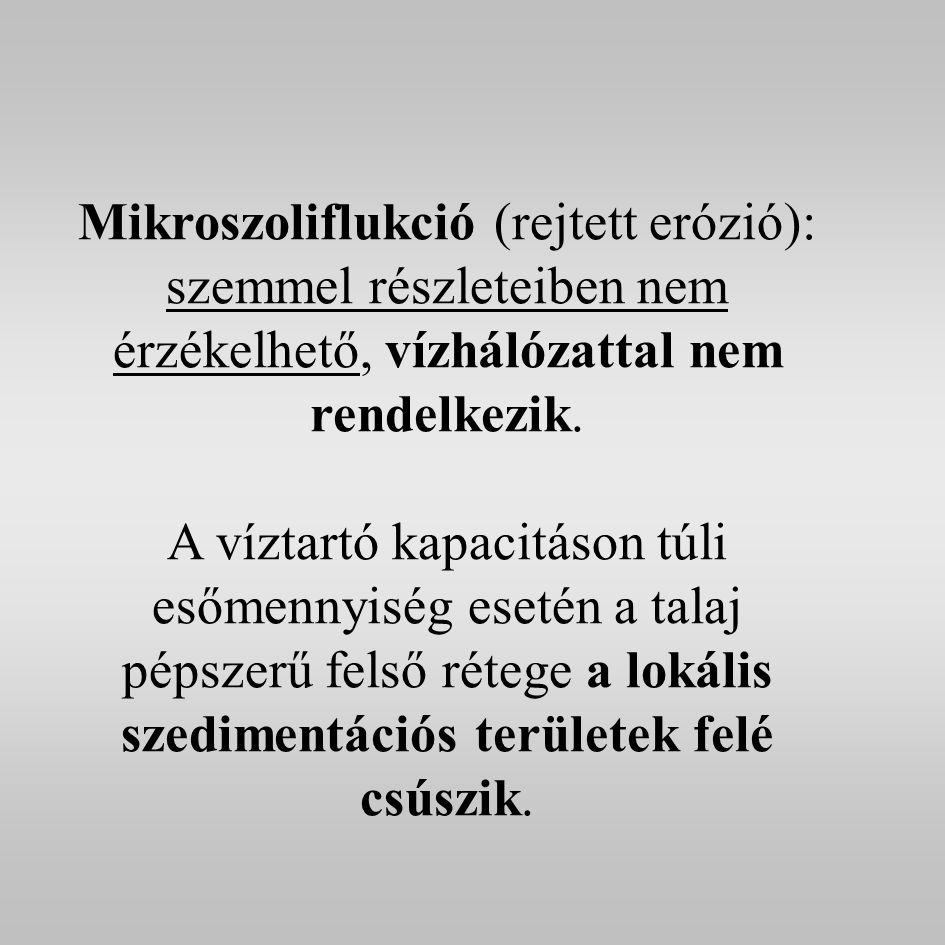 Mikroszoliflukció (rejtett erózió): szemmel részleteiben nem érzékelhető, vízhálózattal nem rendelkezik.