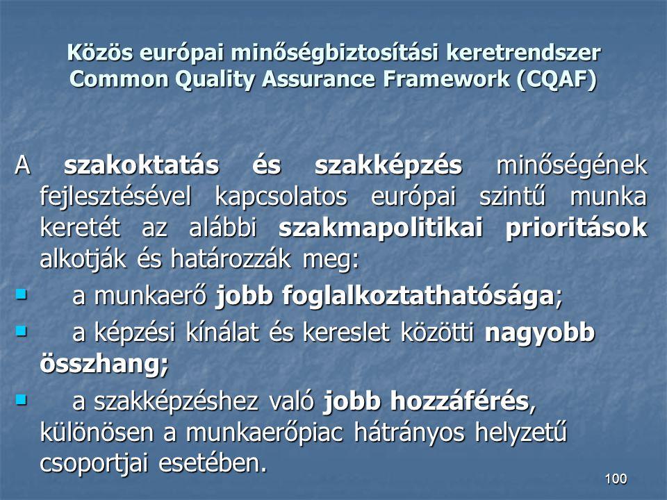 Közös európai minőségbiztosítási keretrendszer Common Quality Assurance Framework (CQAF) A szakoktatás és szakképzés minőségének fejlesztésével kapcso