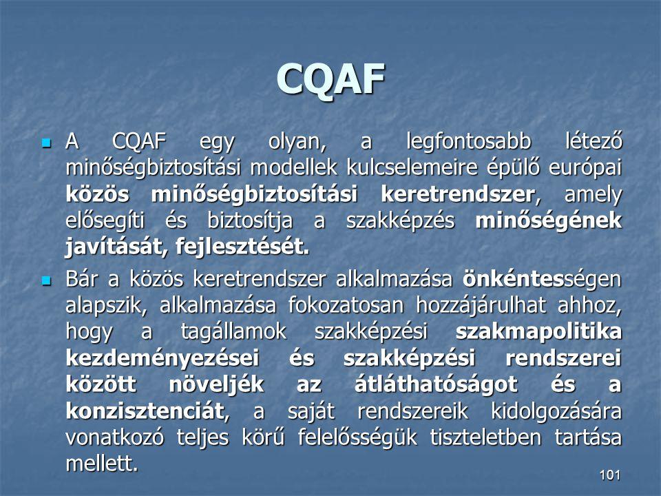 CQAF A CQAF egy olyan, a legfontosabb létező minőségbiztosítási modellek kulcselemeire épülő európai közös minőségbiztosítási keretrendszer, amely elő