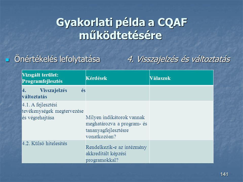Gyakorlati példa a CQAF működtetésére Gyakorlati példa a CQAF működtetésére Önértékelés lefolytatása4. Visszajelzés és változtatás Önértékelés lefolyt