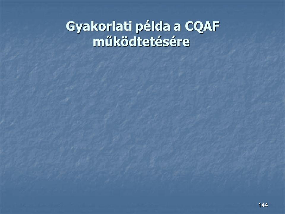 Gyakorlati példa a CQAF működtetésére Gyakorlati példa a CQAF működtetésére 144