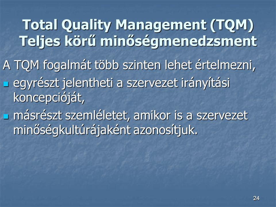 24 Total Quality Management (TQM) Teljes körű minőségmenedzsment A TQM fogalmát több szinten lehet értelmezni, egyrészt jelentheti a szervezet irányít
