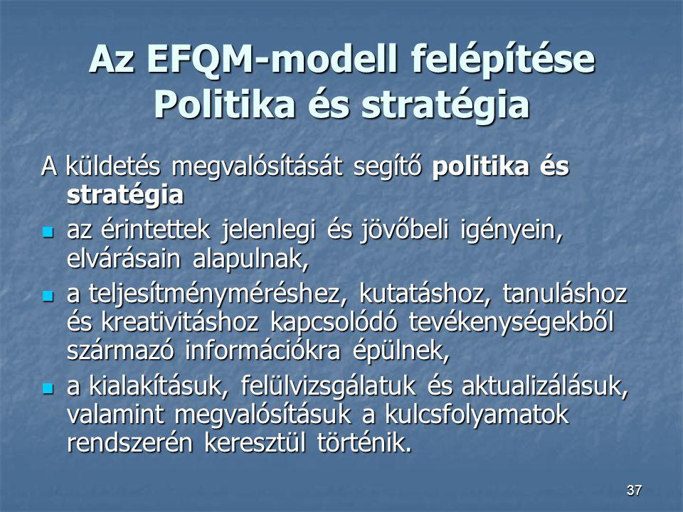 37 Az EFQM-modell felépítése Politika és stratégia A küldetés megvalósítását segítő politika és stratégia az érintettek jelenlegi és jövőbeli igényein