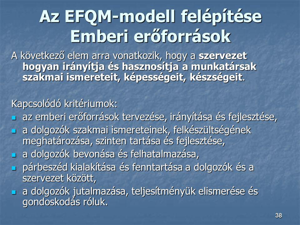 38 Az EFQM-modell felépítése Emberi erőforrások A következő elem arra vonatkozik, hogy a szervezet hogyan irányítja és hasznosítja a munkatársak szakm