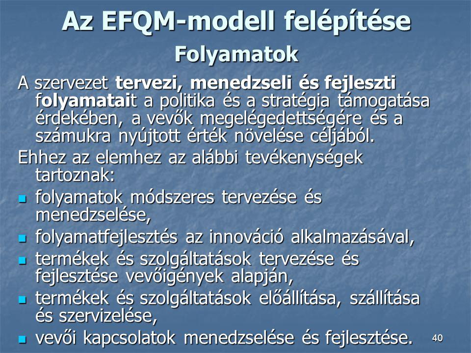 40 Az EFQM-modell felépítése Folyamatok A szervezet tervezi, menedzseli és fejleszti folyamatait a politika és a stratégia támogatása érdekében, a vev