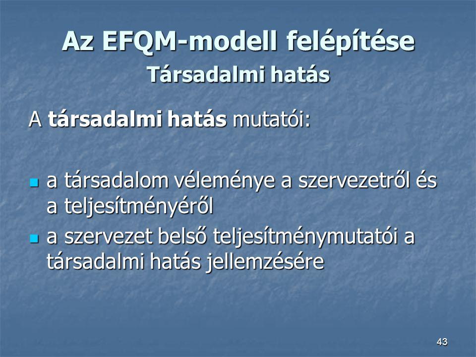 43 Az EFQM-modell felépítése Társadalmi hatás A társadalmi hatás mutatói: a társadalom véleménye a szervezetről és a teljesítményéről a társadalom vél