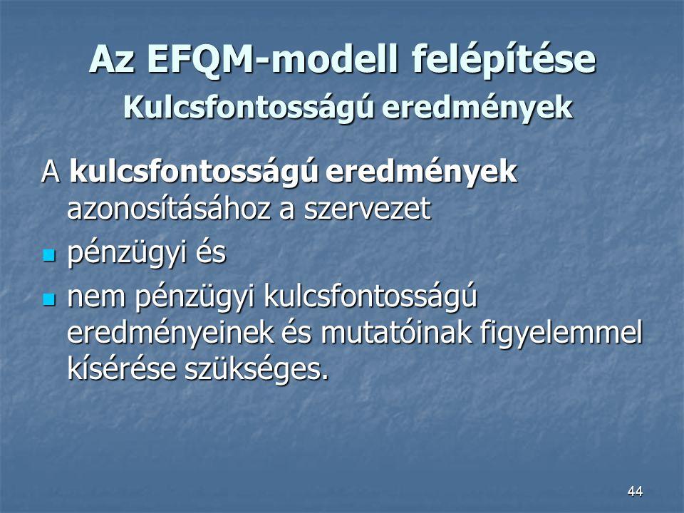 44 Az EFQM-modell felépítése Kulcsfontosságú eredmények A kulcsfontosságú eredmények azonosításához a szervezet pénzügyi és pénzügyi és nem pénzügyi k