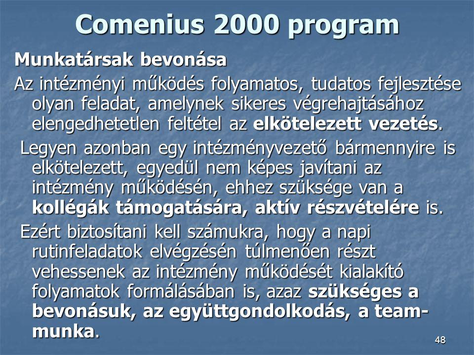 48 Comenius 2000 program Munkatársak bevonása Az intézményi működés folyamatos, tudatos fejlesztése olyan feladat, amelynek sikeres végrehajtásához el
