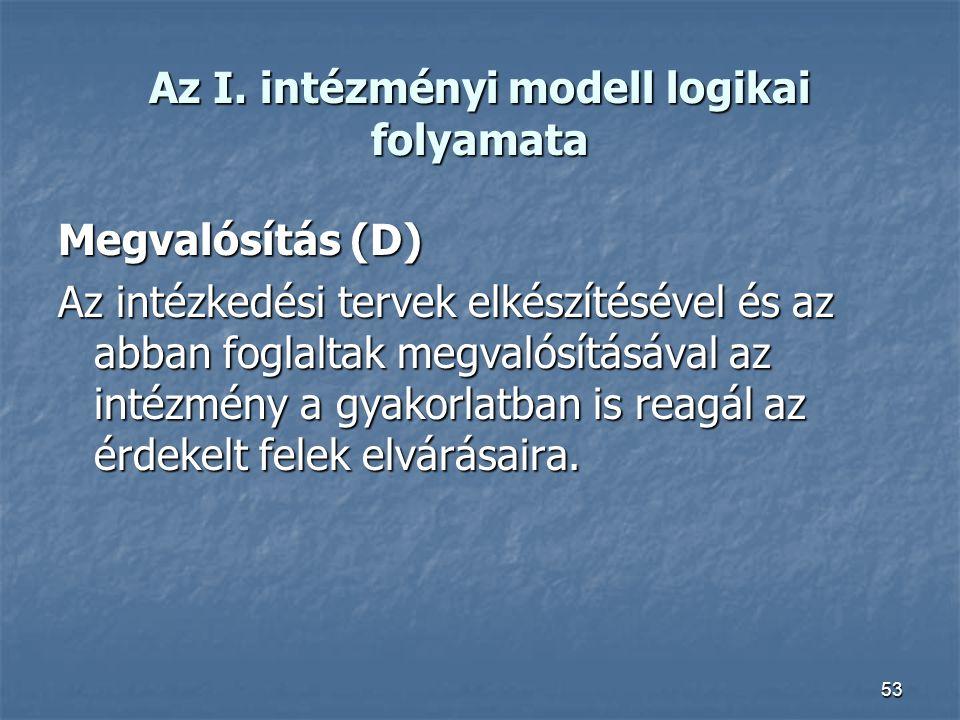 53 Az I. intézményi modell logikai folyamata Megvalósítás (D) Az intézkedési tervek elkészítésével és az abban foglaltak megvalósításával az intézmény