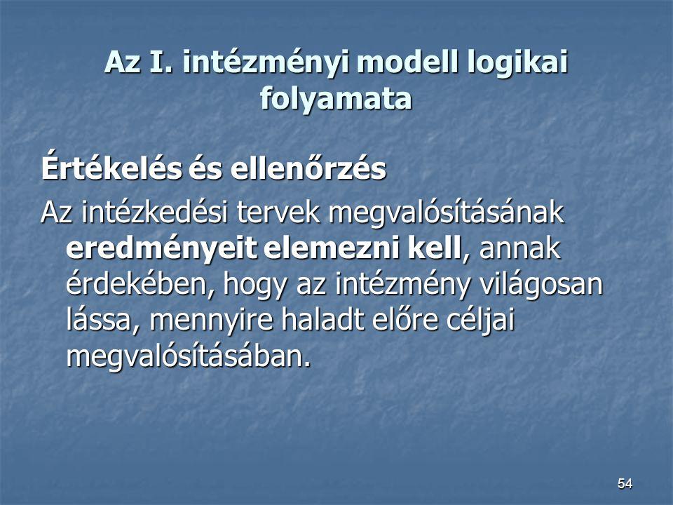 54 Az I. intézményi modell logikai folyamata Értékelés és ellenőrzés Az intézkedési tervek megvalósításának eredményeit elemezni kell, annak érdekében