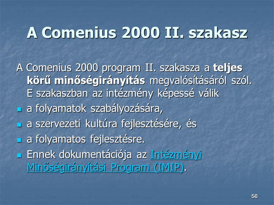 56 A Comenius 2000 II. szakasz A Comenius 2000 program II. szakasza a teljes körű minőségirányítás megvalósításáról szól. E szakaszban az intézmény ké