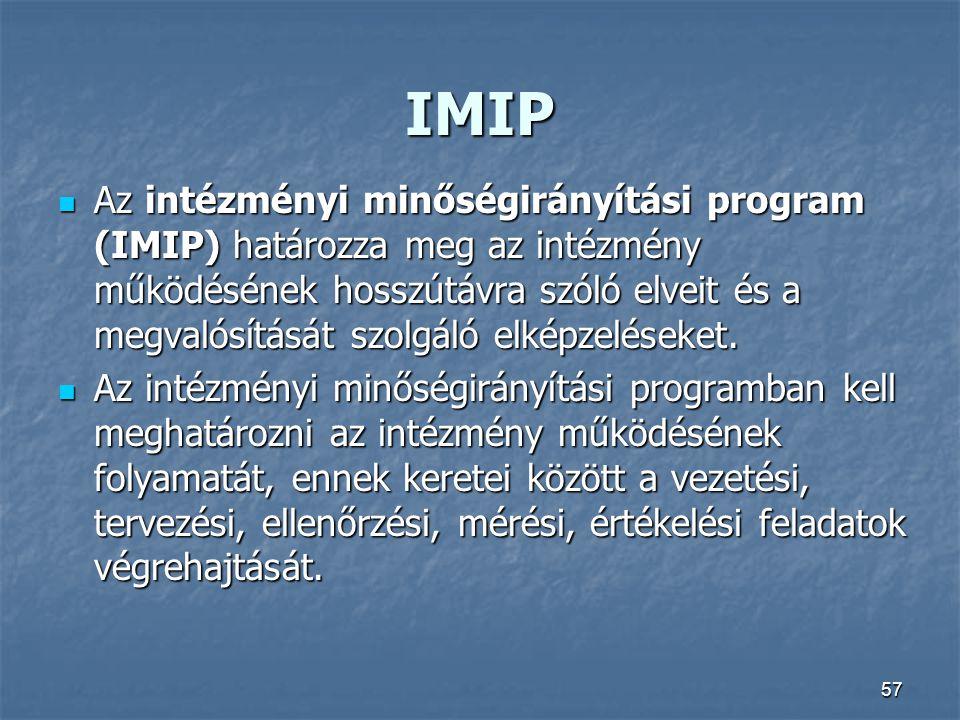 57 IMIP Az intézményi minőségirányítási program (IMIP) határozza meg az intézmény működésének hosszútávra szóló elveit és a megvalósítását szolgáló el