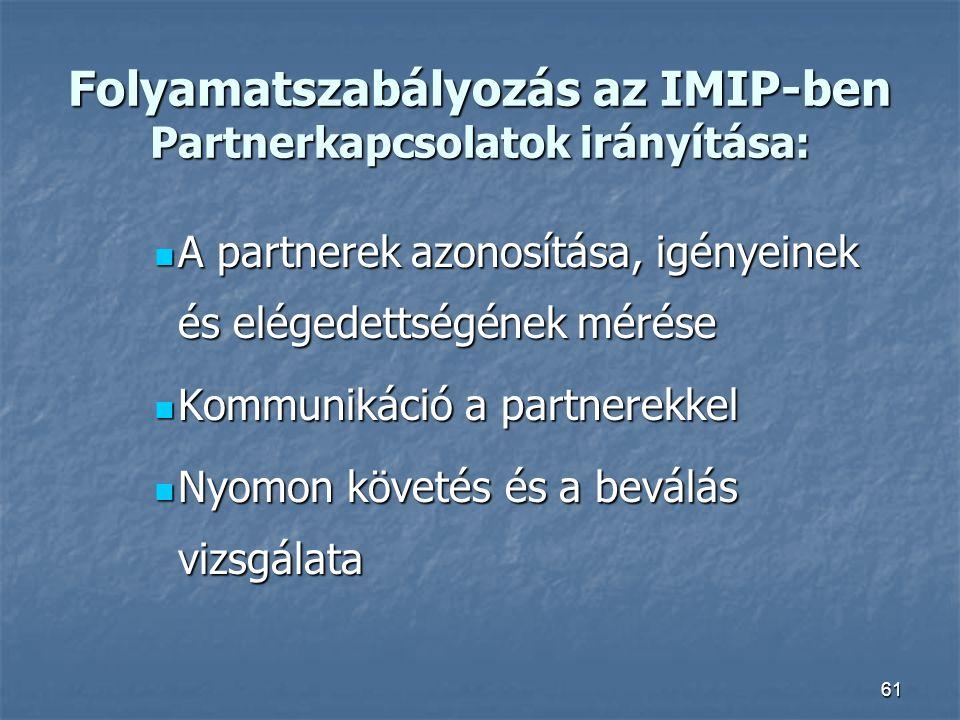 61 Folyamatszabályozás az IMIP-ben Partnerkapcsolatok irányítása: A partnerek azonosítása, igényeinek és elégedettségének mérése A partnerek azonosítá