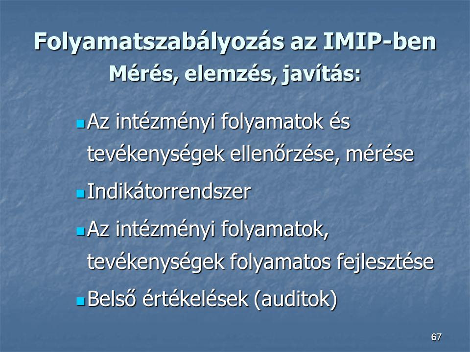 67 Folyamatszabályozás az IMIP-ben Mérés, elemzés, javítás: Az intézményi folyamatok és tevékenységek ellenőrzése, mérése Az intézményi folyamatok és