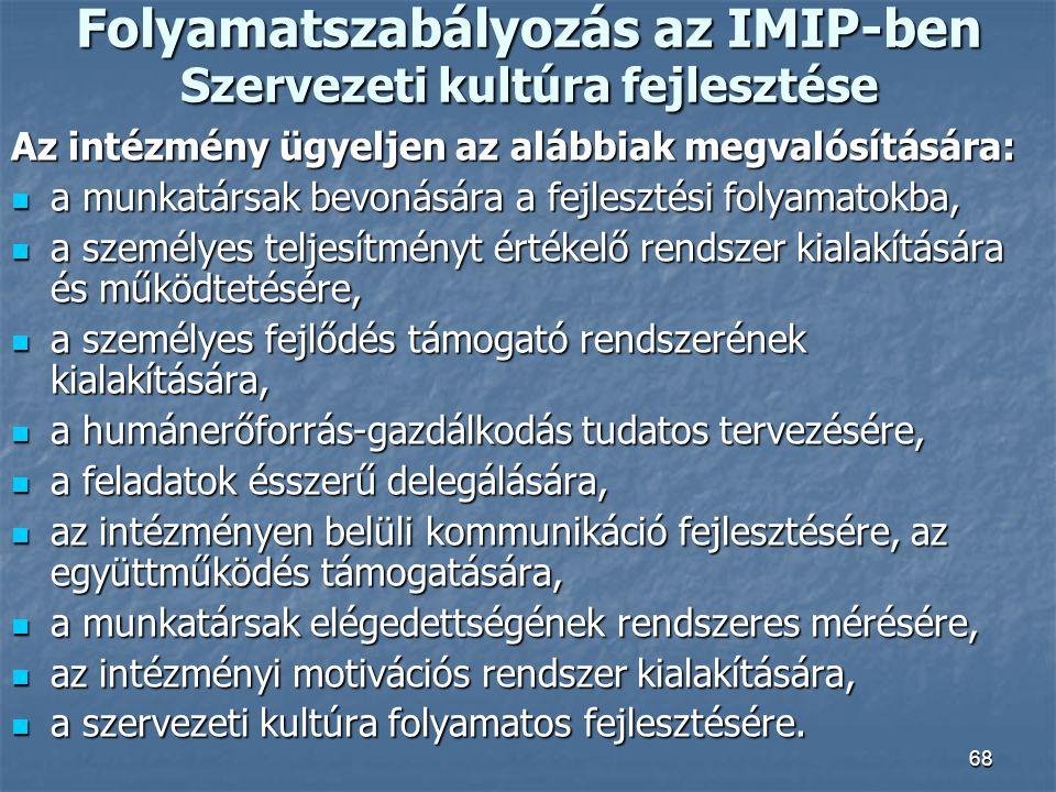 68 Folyamatszabályozás az IMIP-ben Szervezeti kultúra fejlesztése Az intézmény ügyeljen az alábbiak megvalósítására: a munkatársak bevonására a fejles