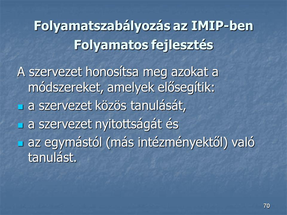 70 Folyamatszabályozás az IMIP-ben Folyamatos fejlesztés A szervezet honosítsa meg azokat a módszereket, amelyek elősegítik: a szervezet közös tanulás
