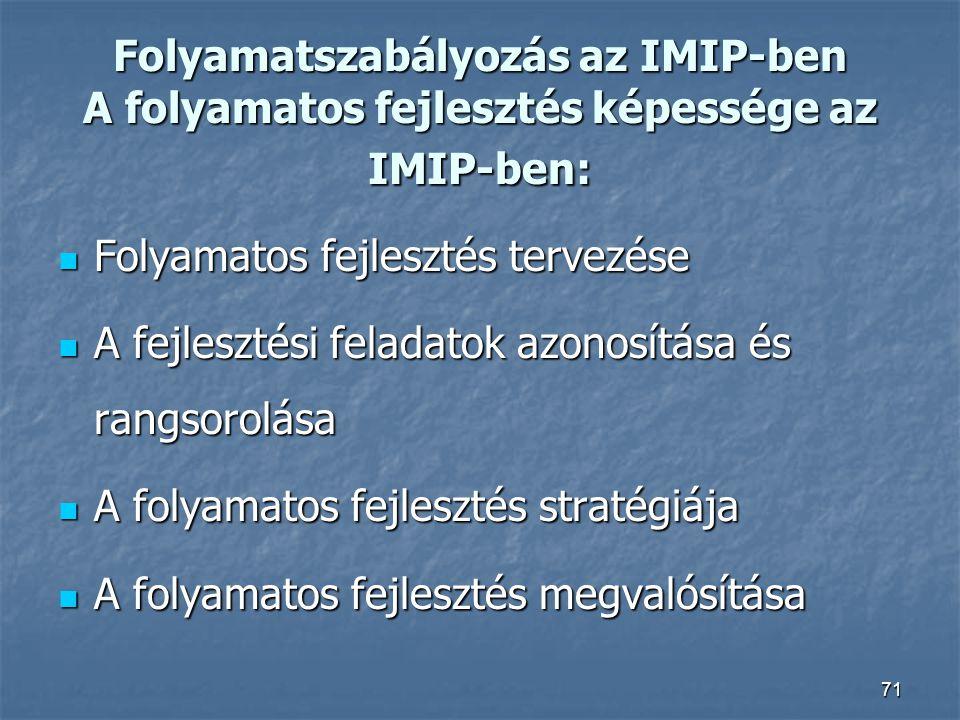 71 Folyamatszabályozás az IMIP-ben A folyamatos fejlesztés képessége az IMIP-ben: Folyamatos fejlesztés tervezése Folyamatos fejlesztés tervezése A fe