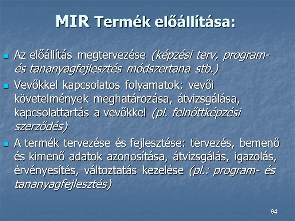 94 MIR Termék előállítása: Az előállítás megtervezése (képzési terv, program- és tananyagfejlesztés módszertana stb.) Az előállítás megtervezése (képz