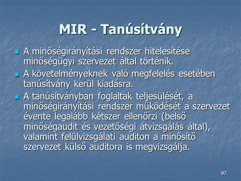 97 MIR - Tanúsítvány A minőségirányítási rendszer hitelesítése minőségügyi szervezet által történik. A minőségirányítási rendszer hitelesítése minőség