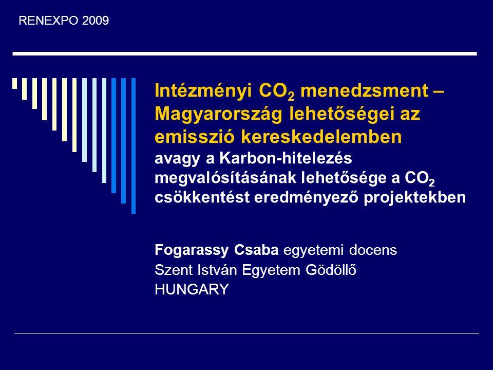 Intézményi CO 2 menedzsment – Magyarország lehetőségei az emisszió kereskedelemben avagy a Karbon-hitelezés megvalósításának lehetősége a CO 2 csökken