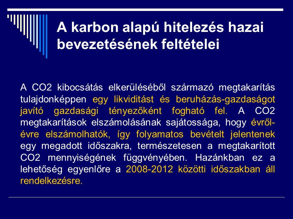 A karbon alapú hitelezés hazai bevezetésének feltételei A CO2 kibocsátás elkerüléséből származó megtakarítás tulajdonképpen egy likviditást és beruház