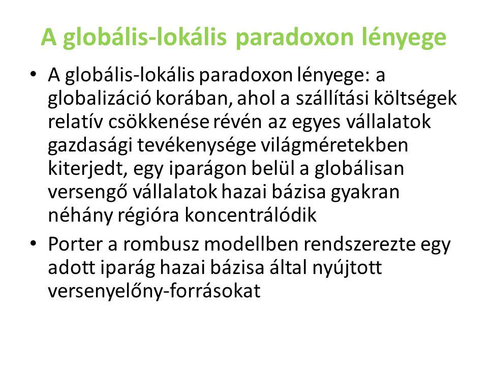A globális-lokális paradoxon lényege A globális-lokális paradoxon lényege: a globalizáció korában, ahol a szállítási költségek relatív csökkenése révé